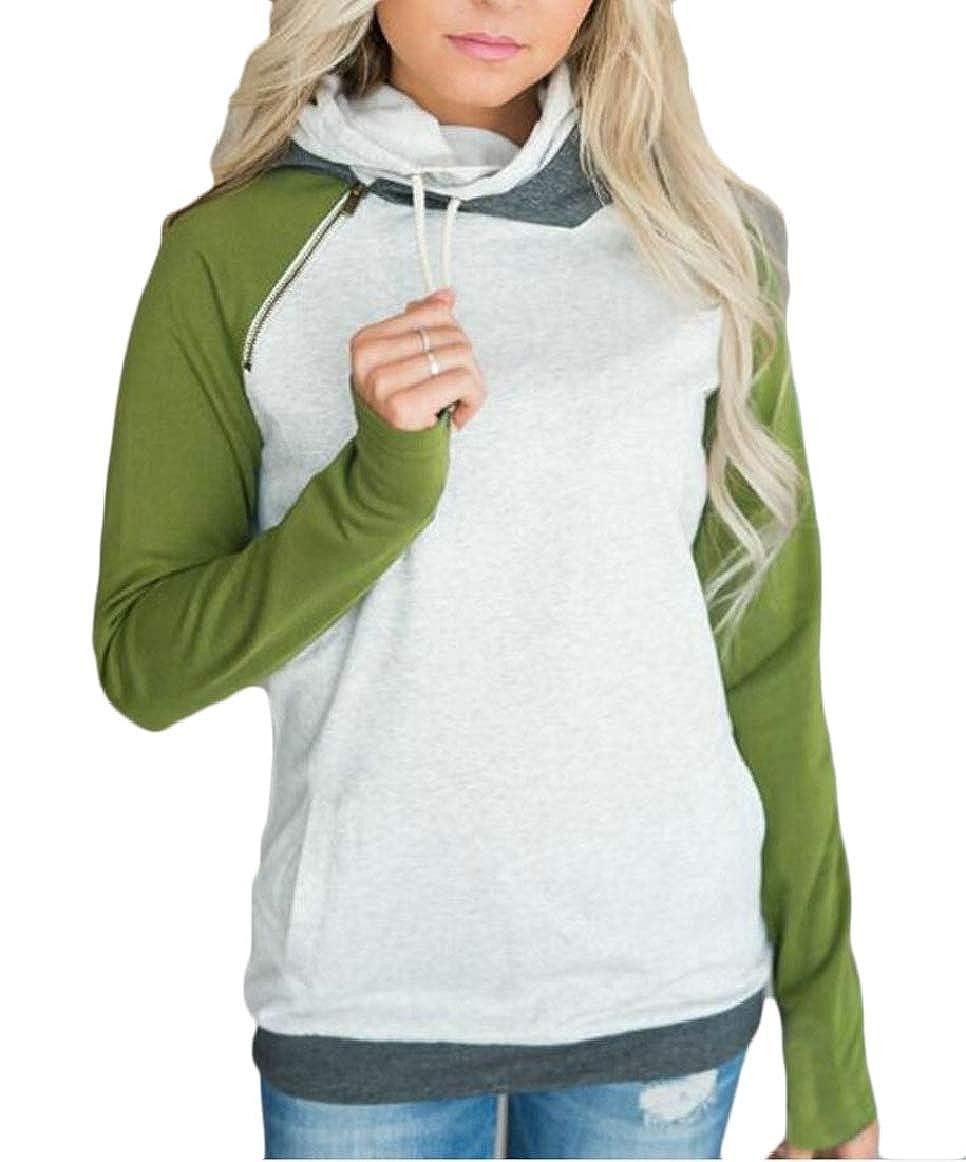 pujingge-CA Womens Hoodies Sweatshirts Double Hooded Stripe Funnel Neck Pullover Tops
