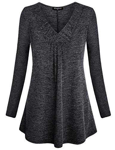 Miagooo V Neck Tunic Tops for Women, Ladies Petite Flowy Long Shirt Textured Flattering Solid Long Sleeve Tunic Flyaway Trapeze Easy Fit Draped Pleat Blouse for Work Black Grey M