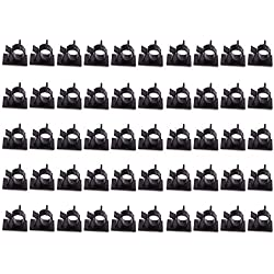 Teenitor SWEET-12 Cable Wire Clips, Top Quality 3M Self-Adhesive Adjustable Car Organizer, Desk Wall, Computer, Electrical, Cord Tie Drop, Black, 50 Piece