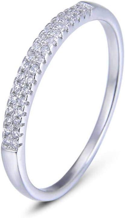 S&RL Anillos de Regalo Fila de Diamantes 925 Anillos de Plata Esterlina de Cuerpo Entero Anillos de Diamantes Pequeños Femeninos Rotos Anillos de Cola Anillos Individuales Finosblanco, Veintidós#