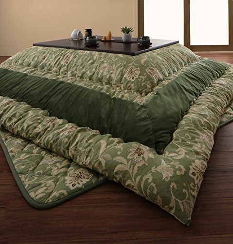 和室、洋室にも合う更紗模様 こたつ布団セット 大判 正方形 90×90 天板対応 (グリーン) / 掛け敷きセット 和風  グリーン B07JPK9LQH