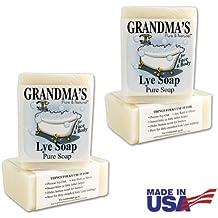 Grandma's Pure & Natural Lye Soap Bars for Dry Skin No Additives 6oz (Set of 4)