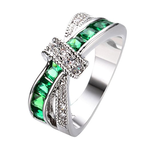 BEUU 2018 European and American Style Stone Crystal Ring Delicate and Beautiful Diamond Studded Zircon Female Ring (Green, 7) ()