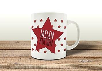 Tasse Kaffeebecher Tassenkuchen Stern Rot Kuchen Mikrowelle