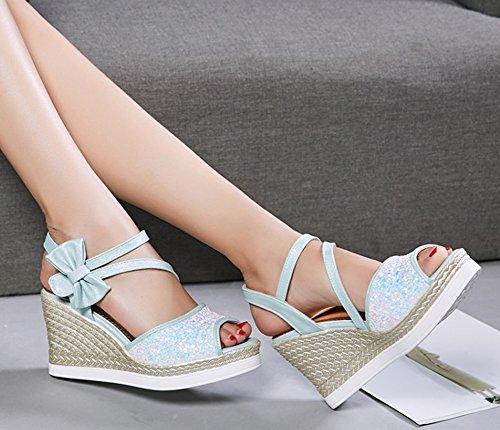 Nœud Belle Hautes Chaussures Paillettes Aisun Bleu Femme Compensé Sandales pTYwFwqRx