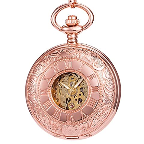 ManChDa Women Pocket Watch Pink Rose Golden Engraved Case Double Hunter Skeleton Mechanical (Mechanical Pocket Watch Engraved)