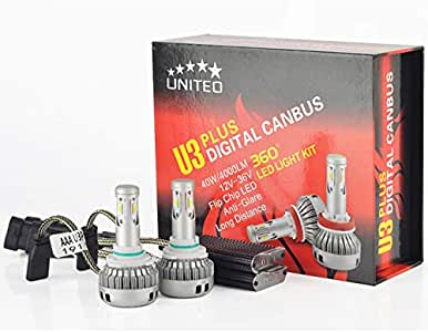 Philips U3 PLUS H7 40W LED Headlight Kit New Upgrade Flip Chips LED by HIDNY