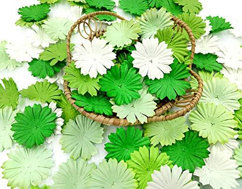 NAVA CHIANGMAI 100 pcs Daisy Mulberry Paper Flower Petals Artificial Craft Scrapbooking Embellishment,Wedding Supply Accessory DIY,Assorted Color Petal Flower (Green) ()