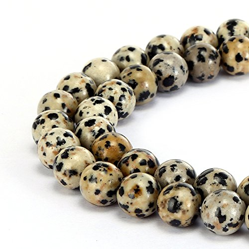 - 8mm Natural Dalmatian Jasper Beads Round Gemstone Loose Beads for Jewelry Making (47-50pcs/strand)