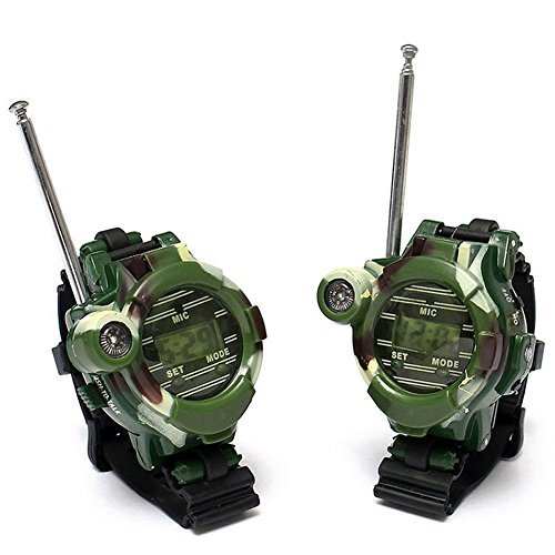 Walkie Talkies Watches 7 in 1 Multi-functional Toy Interphone for Children Parent-child Interaction 2pcs Camouflage Green Image