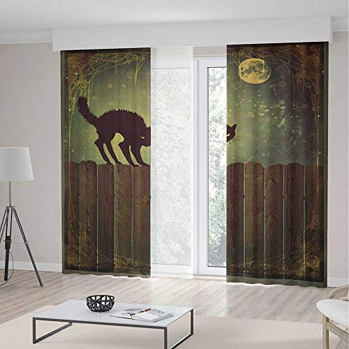 C COABALLA Windows Blackout Curtain,Halloween,Living Room Bedroom Décor,Angry Aggressive Cat on Old Wood Fences at Night Framework Eerie Vintage Print Decorative2 Panel Set,79W X 83L Inches ()