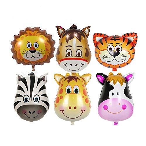 6pcs los niños Lovely Cartoon Animales Head Globo para Kids Play aluminio película decoración con globos