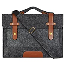 Mosiso Felt Laptop Shoulder Bag for 15-15.6 Inch 2017 / 2016 new MacBook Pro with Touch Bar (A1707), MacBook Pro, Notebook Computer, Compatible with 14 Inch Notebook Ultrabook, Black