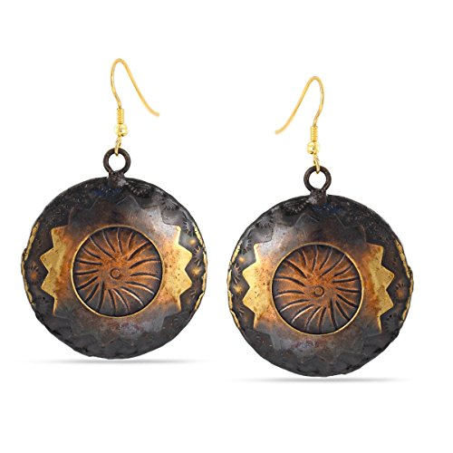Round Disc Drop (TAZZA ANTIQUE LOOK GOLD AND COPPER BRONZE OXIDISED ROUND DISC DROP EARRING)