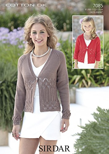 Sirdar Cotton Dk Ladies Cardigan Knitting Pattern 7085 Amazon