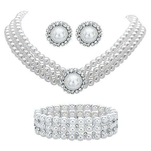 Lux Round Simulated Pearl and Crystal 3-Piece Halo Stud Earrings, Triple-Strand Necklace and Stretch Bra