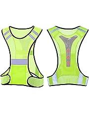 TCCFCCT Chaleco reflectante para correr para hombres y mujeres, chaleco de seguridad de alta visibilidad con bolsillo grande, equipo reflectante ligero para correr, para motociclismo, ciclismo, correr, cintura ajustable
