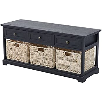 "HomCom 40"" 3-Drawer 3-Basket Storage Bench - Antique Black"