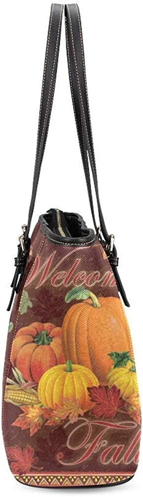 Decorate Well Custom Pumpkin Welcome Fall Yellow Leaves Thanksgiving Harvest Women Fashion PU Leather Handbag Casual Shoulder Tote Bag with Zipper