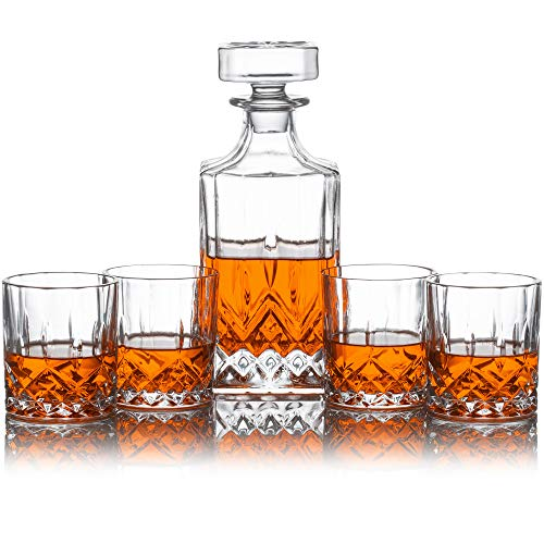 - Whiskey Decanter Set - Perfect for Whiskey, Wine, or Liquor - Includes a (Lead-Free) 700 Milliliter Decanter with 4 Matching Glasses