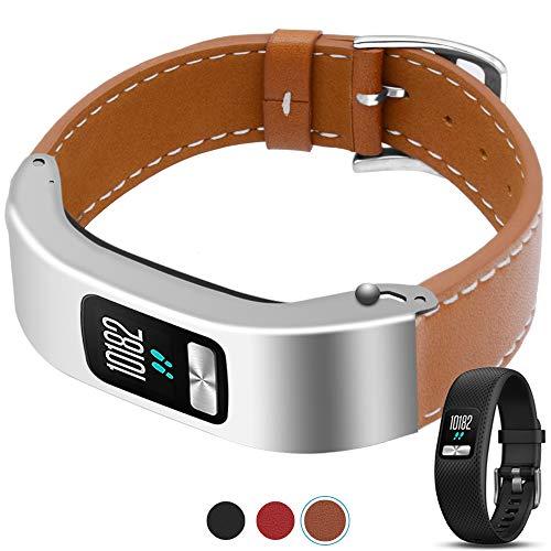 C2D JOY for Garmin Vivofit 4 Case Leather Bands - Metal Steel Case with Leather Bands Only for Garmin Vivofit 4 Brown (5.9-8.2in)