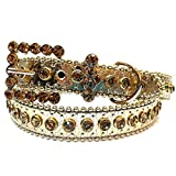 Girls Gold Tone Leather Belt with Brown Rhinestones Size S/M