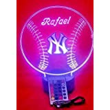 Yankees MLB Light Up Lamp LED Personalized Free New York Baseball Light Up NY Light Lamp LED Table Lamp Our Newest Feature - Its WOW, With Remote, 16 Color Options, Dimmer, Free Engraved, Great Gift