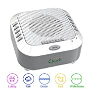 White Noise Machine Sleep Therapy Soothing Sound Machine, Perfect for Babies, Children and Adults. Spa Relaxation, Noise canceling with Five Natural Sounds,Great Shower Gift SnugglyChuck