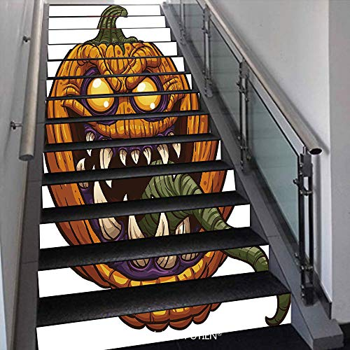 PUTIEN Artistical Stair Stickers Wall Stickers,13 PCS Self-Adhesive [ Halloween,Scary Pumpkin Monster Evil]()