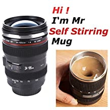Coffee Mug, Camera Lens Self-Stirring Tea Thermos Stainless Steel Insulated Cup