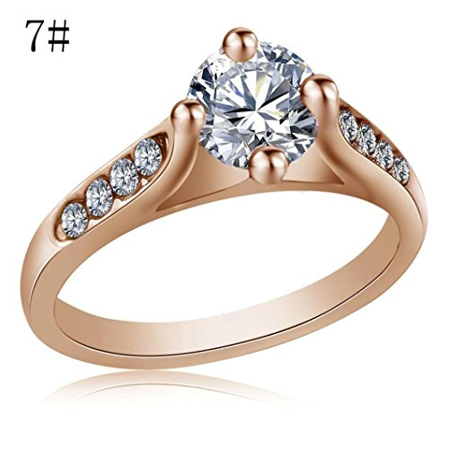 Caopixx Promise Rings,2018 Wedding Bands for Women Jewelry Rings Filled Wedding Engagement Crystal Ring (Rose Gold, 7)