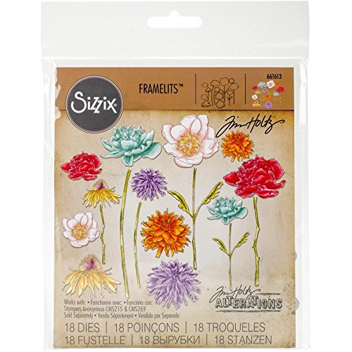 Die Set Garden - Sizzix 661613 Framelits Die Set, Flower Garden & Mini Bouquet (18 Dies)