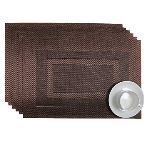 SHACOS Placemats Set of 6 PVC Woven Vinyl Table Mats Coffee Mats Wipe Clean Non Slip Heat Resistant Textilene Kitchen Table Place Mats (6, Bordered ()