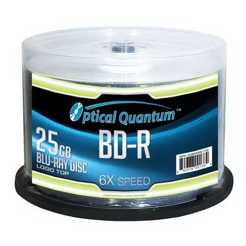 Optical Quantum OQBDR06LT-50 6X 25GB BD-R Single Layer Blu-Ray Recordable Blank Media Logo Top, 50-Disc Spindle by Optical Quantum