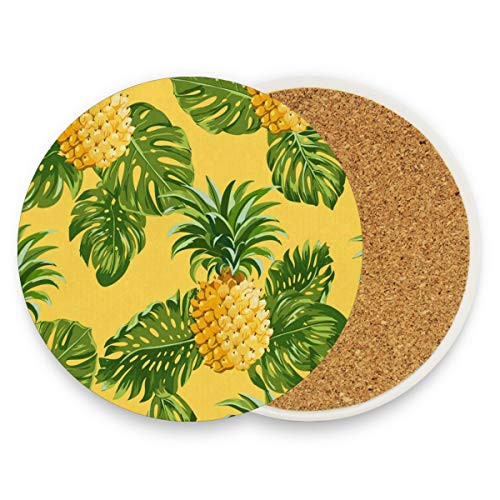(Pineapples Tropical Leaves Coasters, Protect Your Furniture From Stains,Coffee, Drink Coasters Funny Housewarming Gift,Round Cup Mat Pad For Home, Kitchen Or Bar Set Of)
