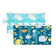 Bumkins Reusable Snack Bag Small 2 Pack, Sea Friends/Whales Away