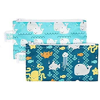 Bumkins Reusable Snack Bag Small 2 Pack, Sea Friends & Whales Away (B90)