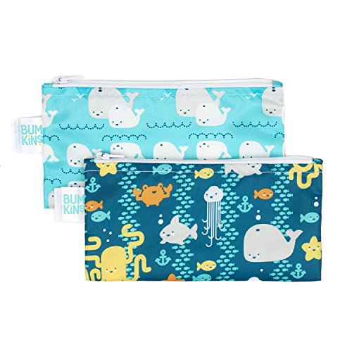 Bumkins Snack Bags, Reusable, Washable, Food Safe, BPA Free, 2-Pack – Sea Friends & Whales Away ()