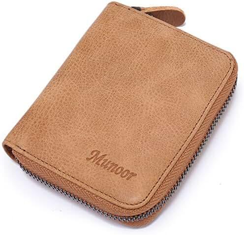 Munoor RFID Blocking Italian Genuine Cow Leather Mens Zipper Wallet Coin Pocket