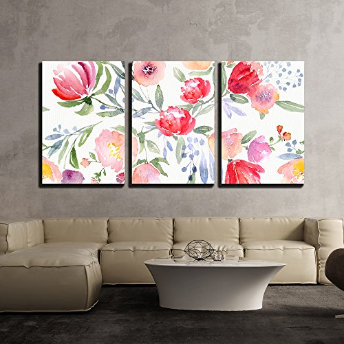"""wall26 - 3 Piece Canvas Wall Art - Watercolor Floral Botanical Pattern and Seamless Background - Modern Home Decor Stretched and Framed Ready to Hang - 16""""x24""""x3 Panels"""