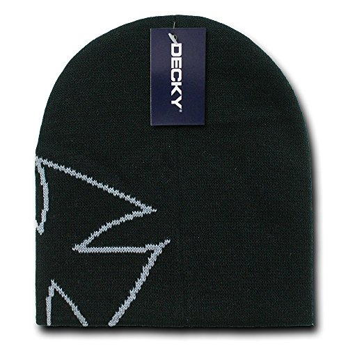 DECKY Chopper Beanie, Black/Grey - Iron Cross Hat Cap