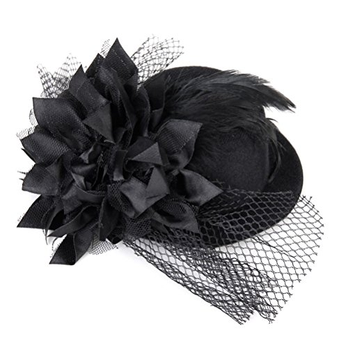 Top Hat Fascinators (Pixnor Women's Ladies Flower Decor Hair Clip Feather Fascinator Burlesque Punk Mini Top Hat - One Size (Black))