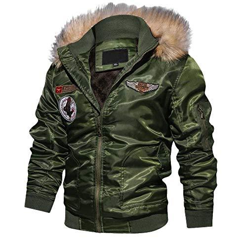- iLXHD Men's Bomber Jacket Military Lightweight Warm Cotton Casual Jackets(Green,2XL)
