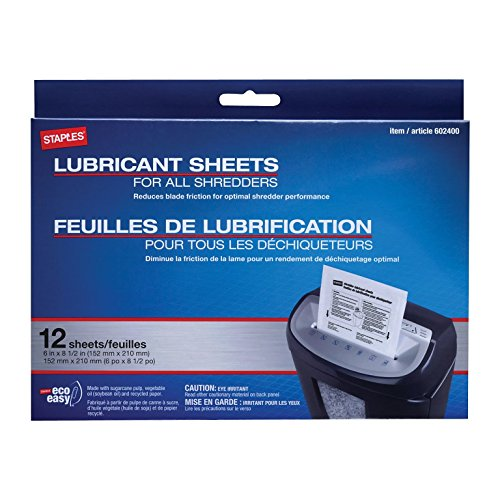 Staples? Shredder Lubricant Sheets 12/pk, Shredder Sheets by Staples