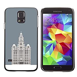 A-type Colorful Printed Hard Protective Back Case Cover Shell Skin for SAMSUNG Galaxy S5 V / i9600 / SM-G900F / SM-G900M / SM-G900A / SM-G900T / SM-G900W8 ( Hotel Budapest Grey Minimalist Building )