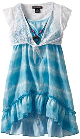 One Step Up Big Girls' Hi-Low Ruffle Dress, White/Teal Medina, Large (14/16)