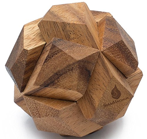 Galactic: Handmade & Organic 3D Brain Teaser Wooden Puzzle for Adults from SiamMandalay with SM Gift Box(Pictured)