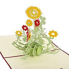 RoseSummer 3D Pop Up DIY Greeting Card Sunflower Birthday Mother Father Day Xmas Graduation 35 Material:Papper Size:15*15CM Color:green