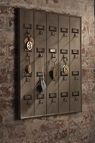 Vintage Inspired Wooden Hotel Key Hook Board Rack (Large 20 Hooks)