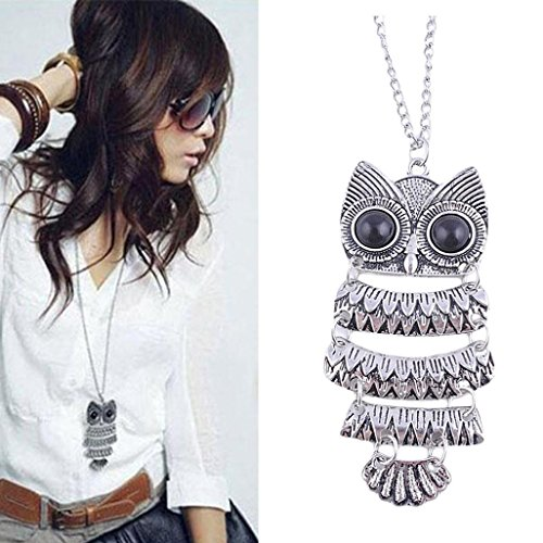 Malltop Lady Women Vintage Handmade Silver Owl Pendant Clothing Necklace